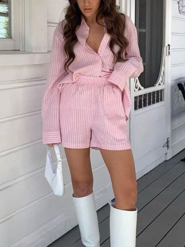 Striped Casual Shorts Set - Pink S