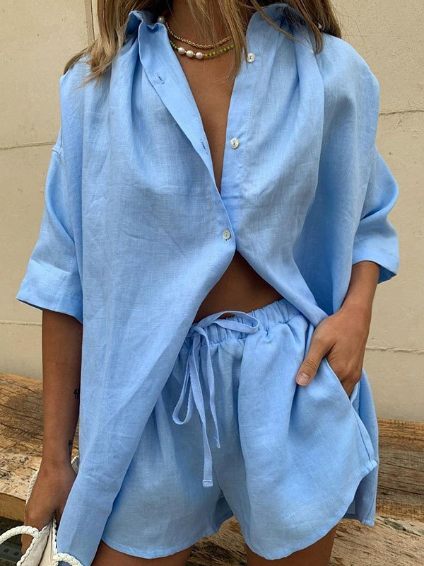 Lace Up Casual Shorts Set - Blue L