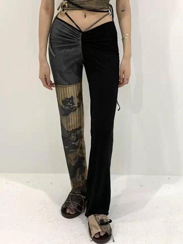 Low Rise Patchwork Printed Pants - Black S