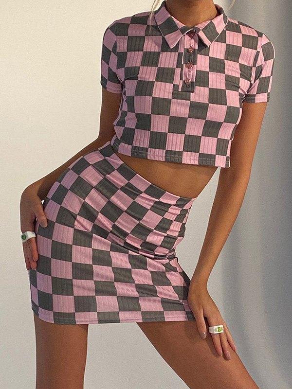 Checkerboard Short Sleeve Set - Lilac M