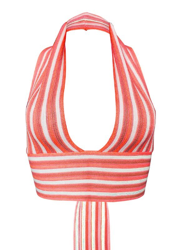 Stripe Knitted Halter Crop Tank Top -