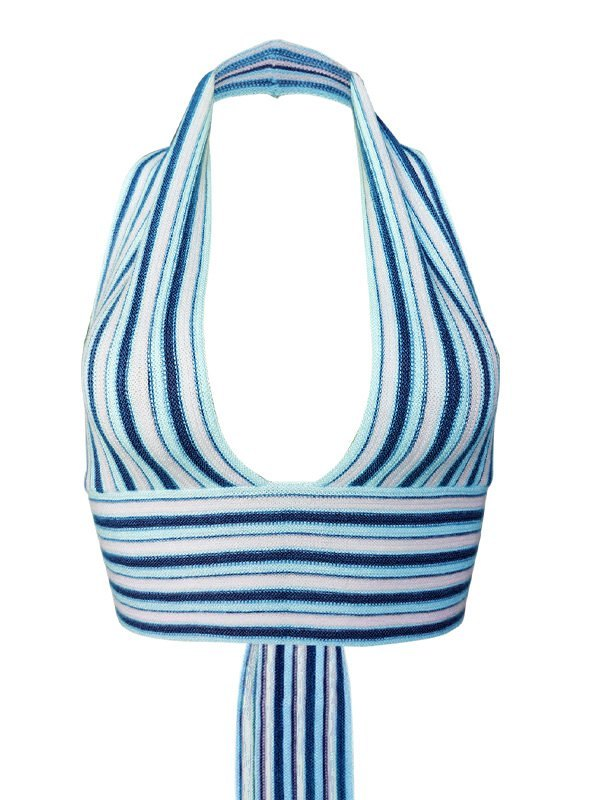Stripe Knitted Halter Crop Tank Top - Blue M