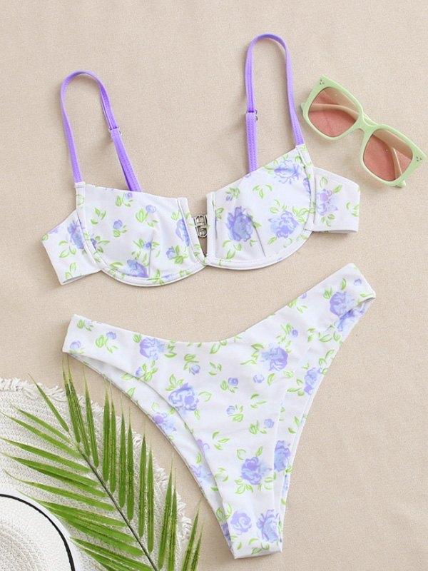 Bikini con ferretto floreale ditsy - Lilla M