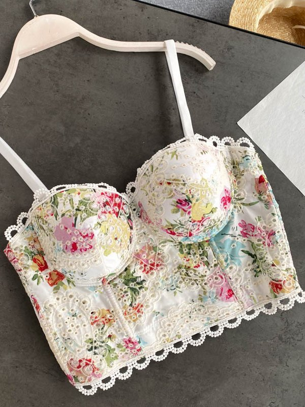 Lace Embroidered Corset Top - White S