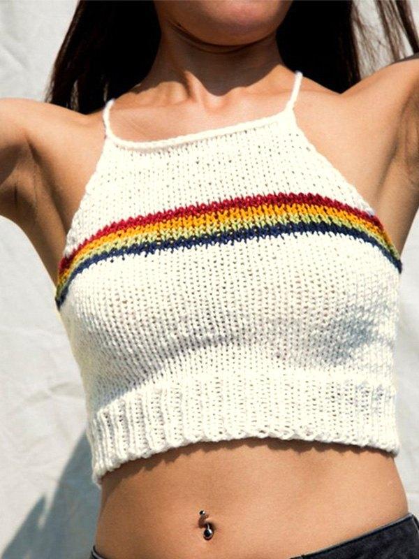 Rainbow Stripe Knitted Crop Cami Top - White M