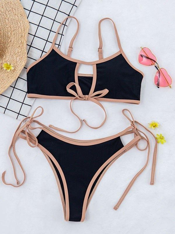 Bikini con lacci ritagliati - Nero S