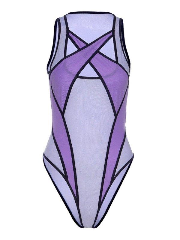 Sheer Mesh Splice Cutout Bodysuit - Lilac M
