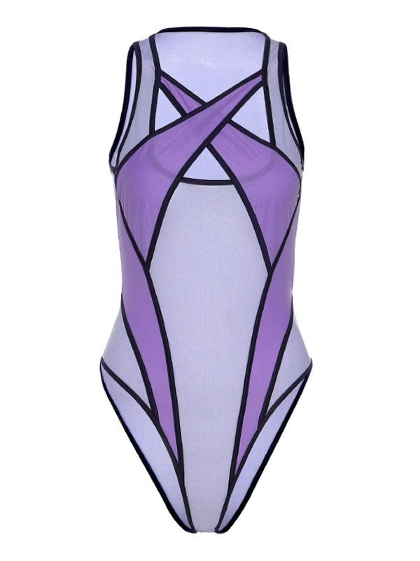 Sheer Mesh Splice Cutout Bodysuit - Lilac L