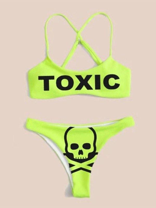 Bikini con stampa teschio tossico - Neon verde M
