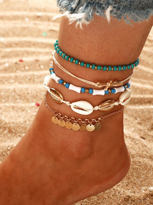 6Pcs Shell Beaded Anklet - Mixcolor ONE SIZE