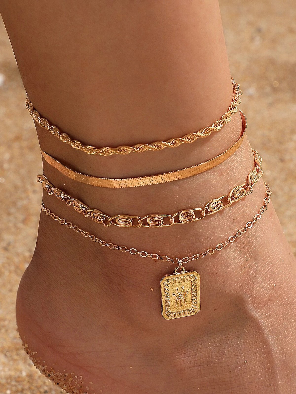 4Pcs Geometric Charm Anklet - Golden ONE SIZE