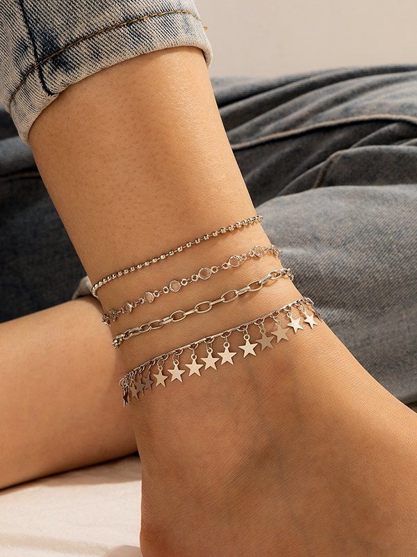 4Pcs Star Decor Anklet - Silver ONE SIZE