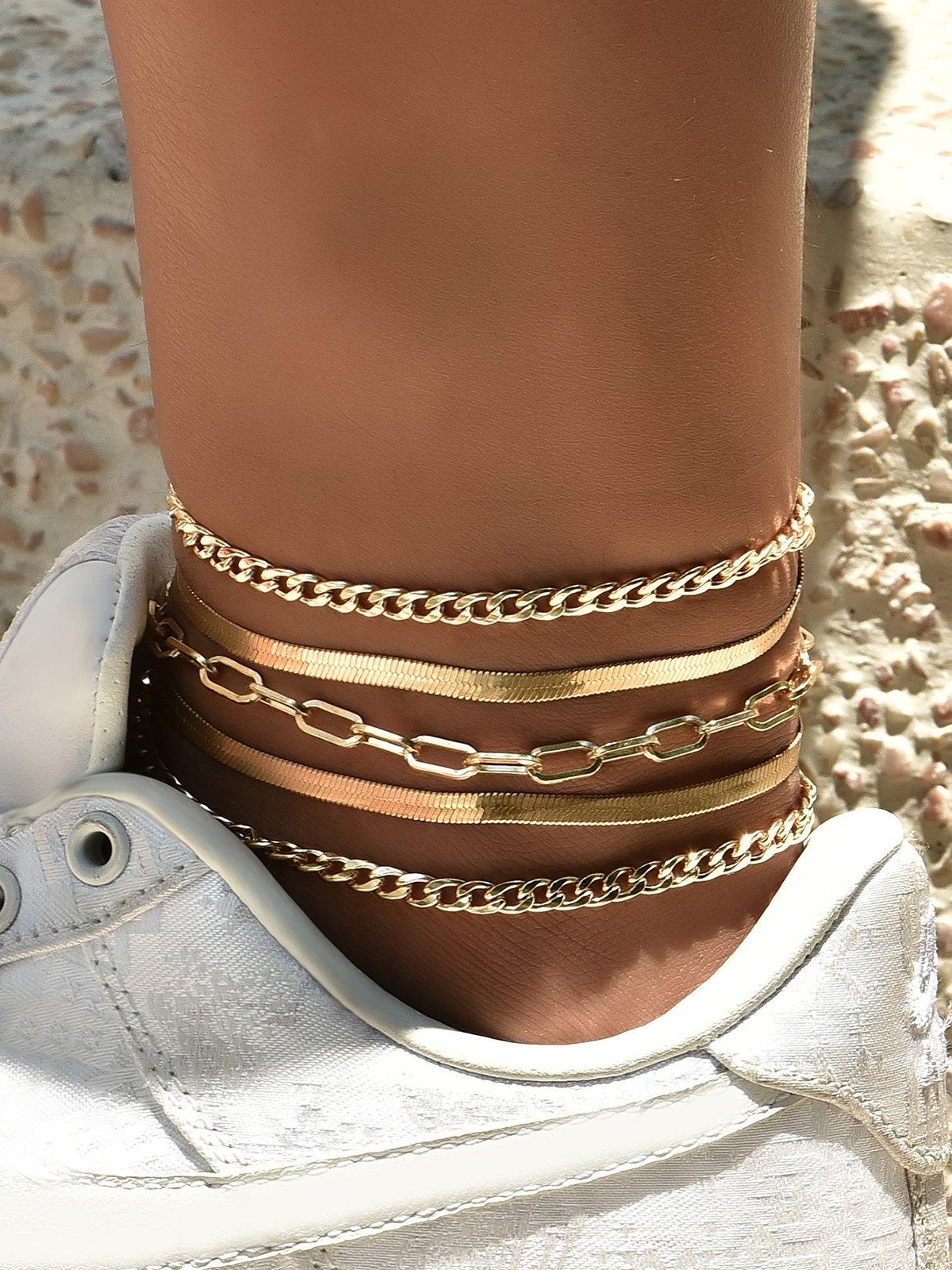 5Pcs Metal Anklet - Golden ONE SIZE