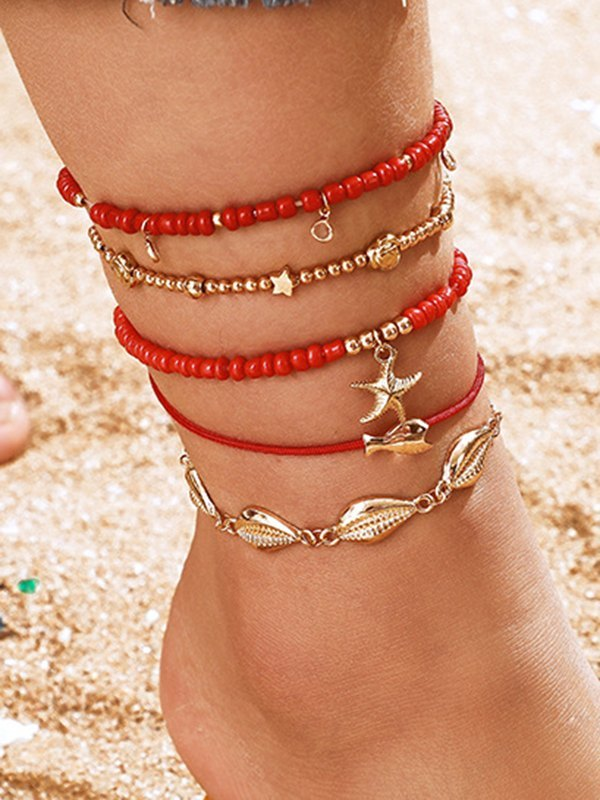5Pcs Shell Decor Anklet - Red ONE SIZE