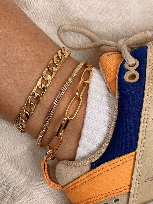 3Pcs Metal Anklet - Golden ONE SIZE