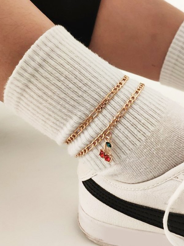 2Pcs Cherry Decor Anklet - Golden ONE SIZE