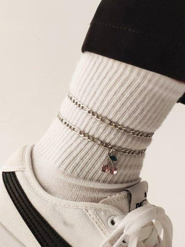 2Pcs Cherry Decor Anklet - Silver ONE SIZE