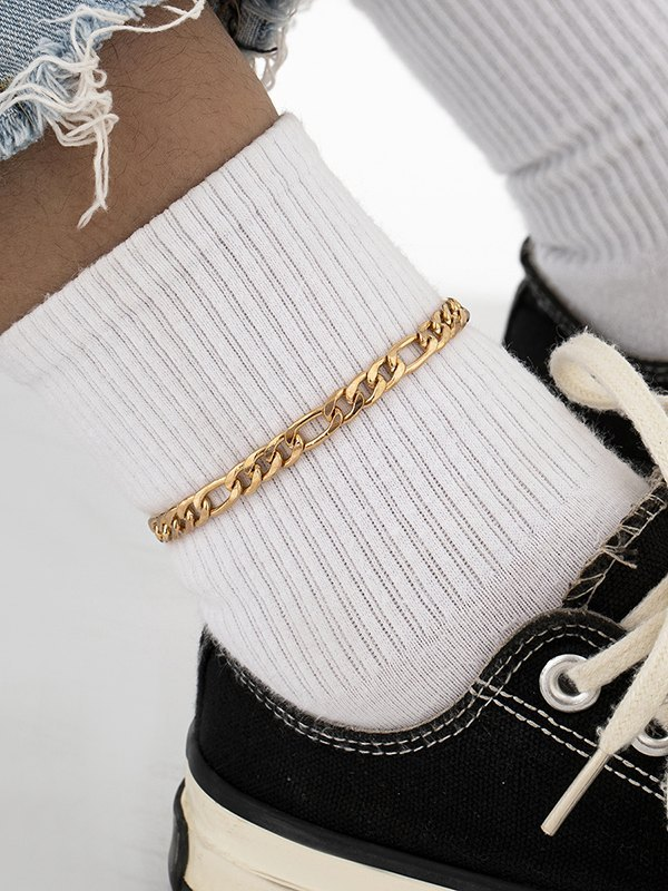 Casual Metal Anklet - Golden ONE SIZE