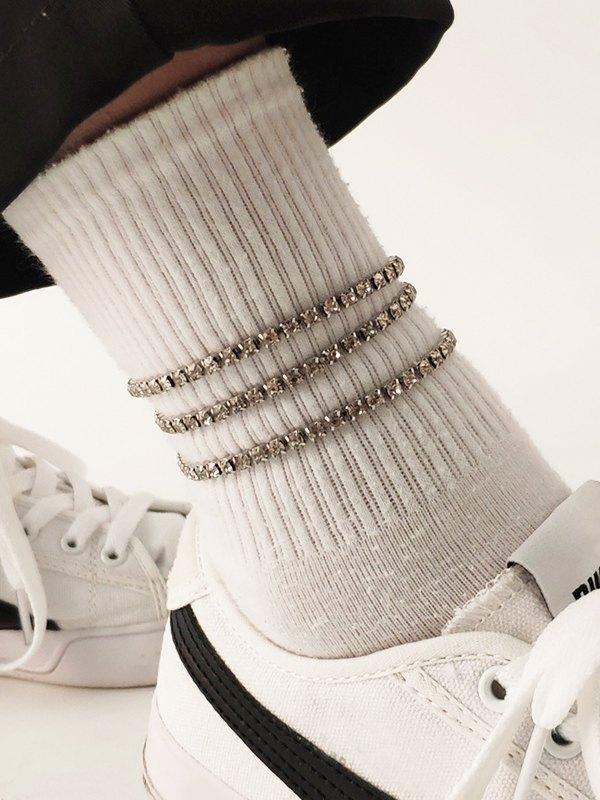 3Pcs Rhinestone Anklet - Silver ONE SIZE
