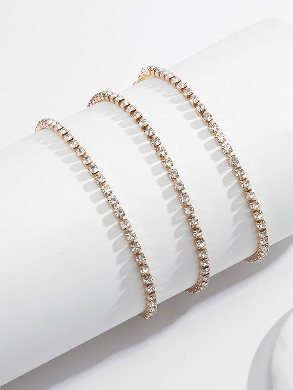 3Pcs Rhinestone Anklet - Golden ONE SIZE