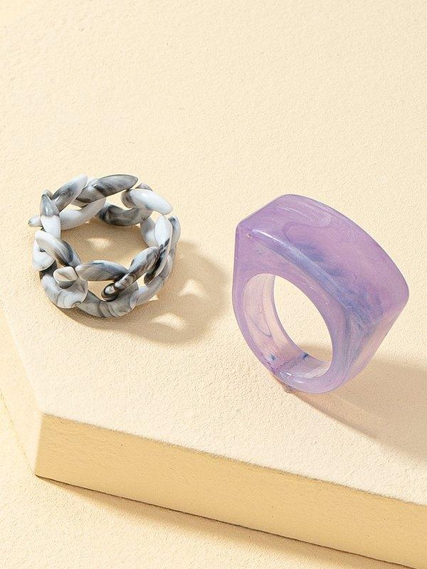 Anneau de cube en chaîne en résine 2 pièces - Melange de couleurs ONE SIZE