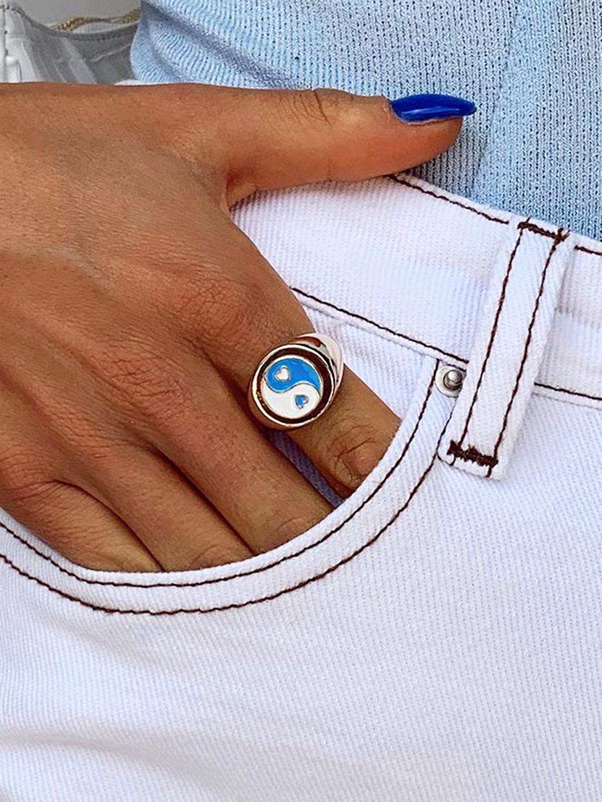 1pcs bague YingYang en forme de coeur chanceux - Bleu ONE SIZE