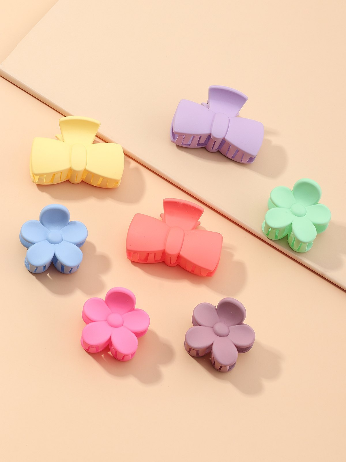 Forcina a fiore con fiocco opaco 7 pezzi - Mixcolor ONE SIZE