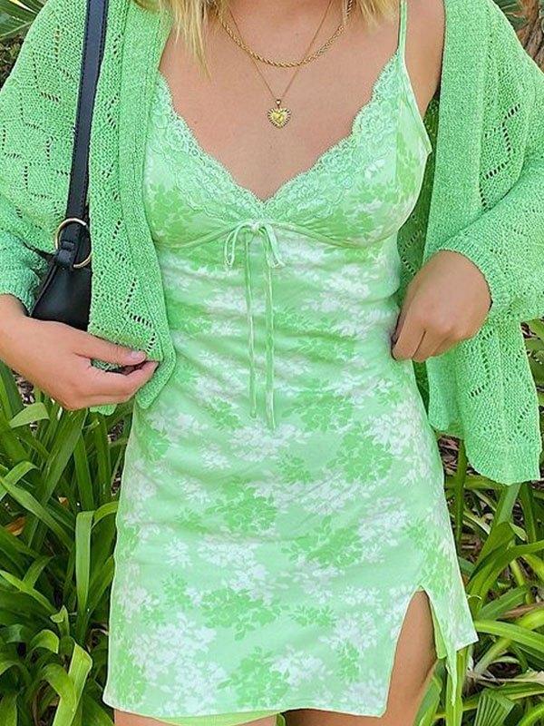 Floral Print Sling Mini Dress -