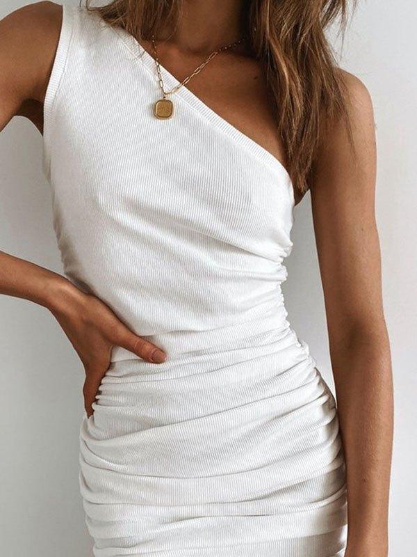 Slant Shoulder Ruched Mini Dress - White XL