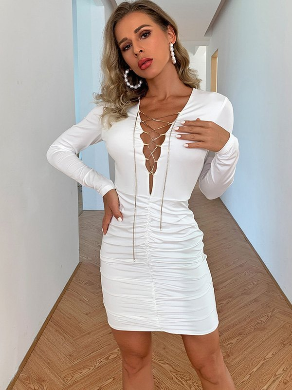 Robe moulante à lacets sur le devant - Blanc XL