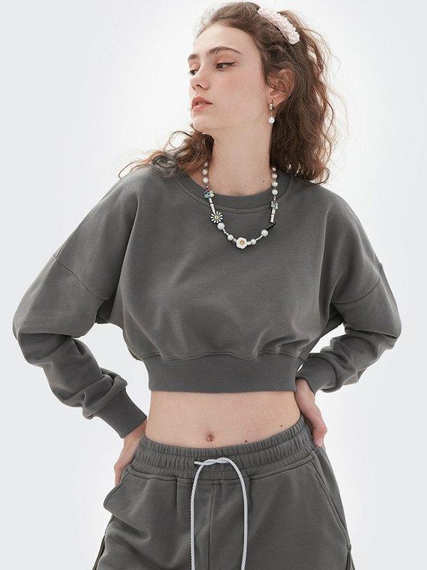 Drop Shoulder Solid Crop Sweatshirt - Gray M