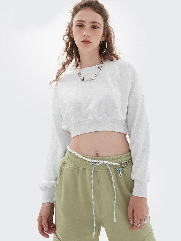 Drop Shoulder Solid Crop Sweatshirt - White S