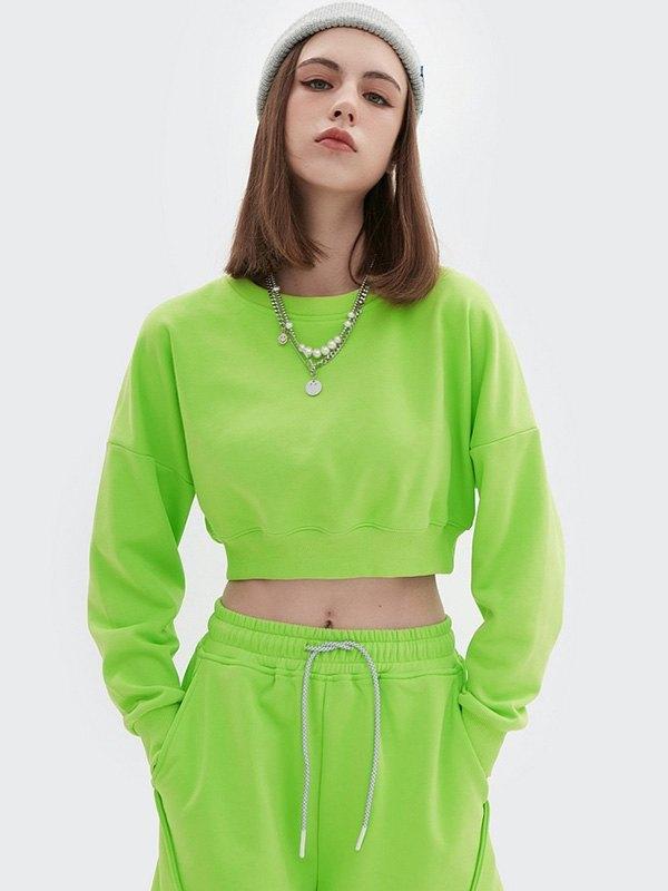 Drop Shoulder Solid Crop Sweatshirt - Green S