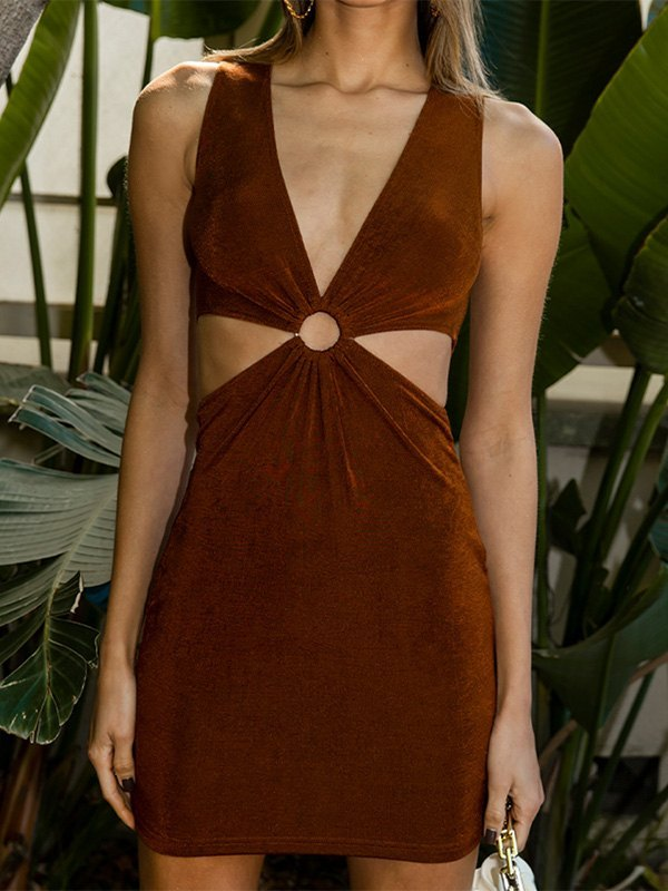O-ring Ruched Front Tank Dress -