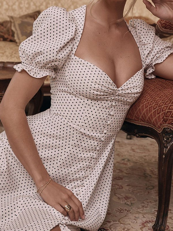 Vintage Polka Dot Maxi Dress - White L