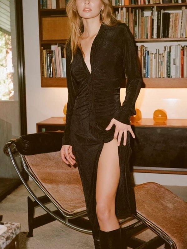 Buttoned Long Sleeve Maxi Dress - Black L