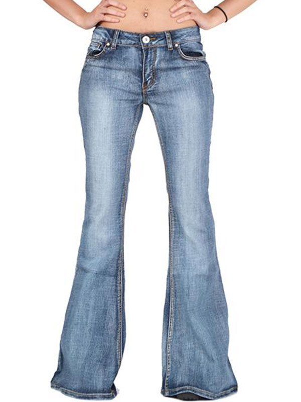 Distressed Low Rise Flare Jeans - Blue M