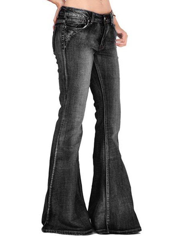 Distressed Low Rise Flare Jeans - Black M