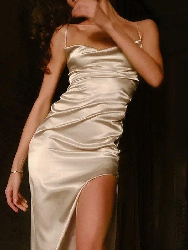 Satin Split Bodycon Maxi Dress - Apricot S