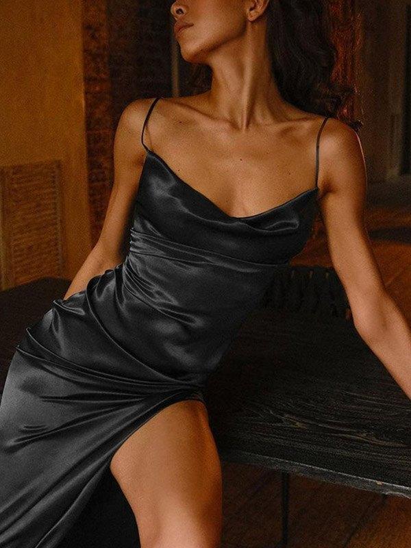 Satin Split Bodycon Maxi Dress - Black M