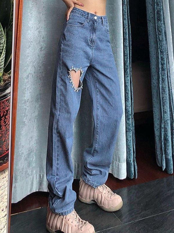 Rhinestone Decor Heart Ripped Jeans - Blue S