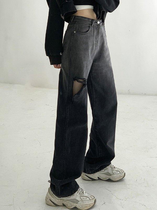 Bleach High Rise Ripped Jeans - Black S
