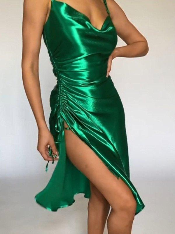 Satin Slit Midi Dress - Green L