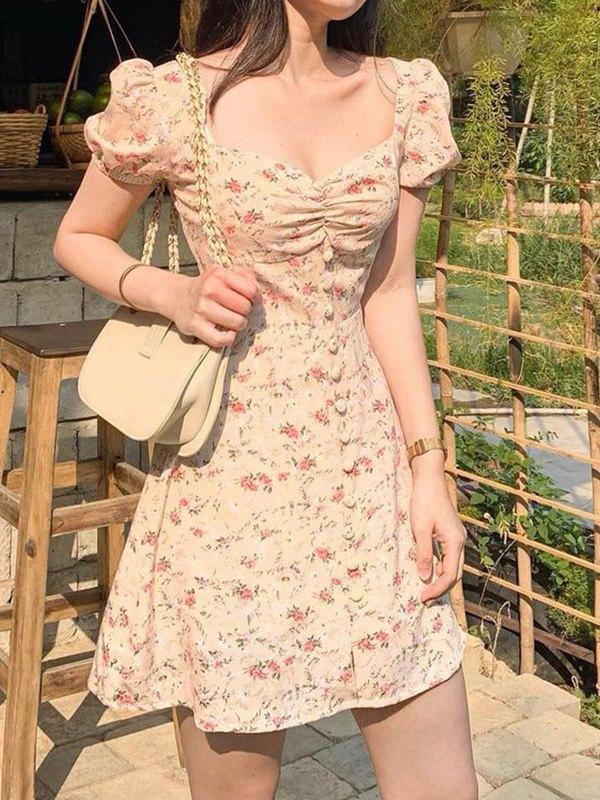Chiffon Short Sleeve Floral Mini Dress - Yellow L
