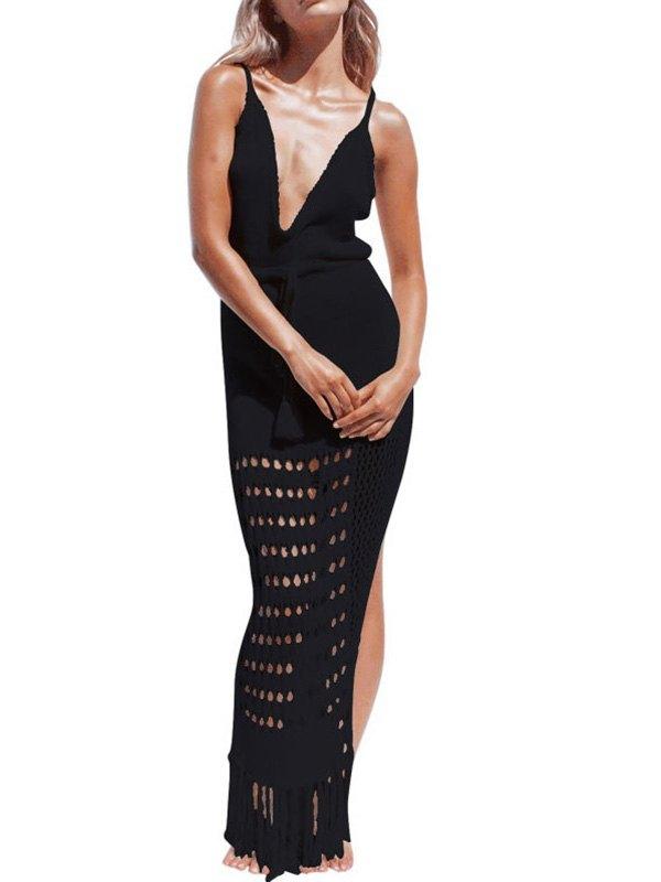 Plunge V Neck Slit Beach Maxi Dress - Black S