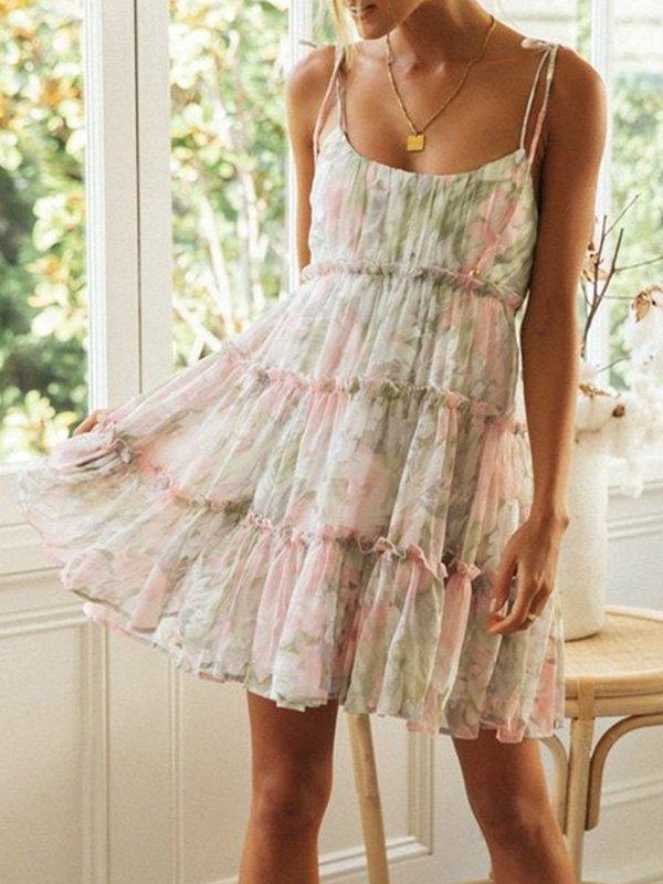 Floral Print Tiered Mini Dress - Pink M