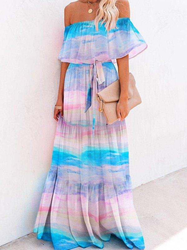 Maxi abito Swing Bardot stampato - Blu L