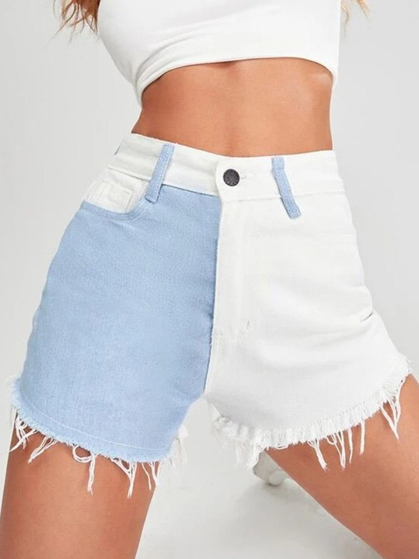 Two-Tone Distressed Denim Shorts - White XS