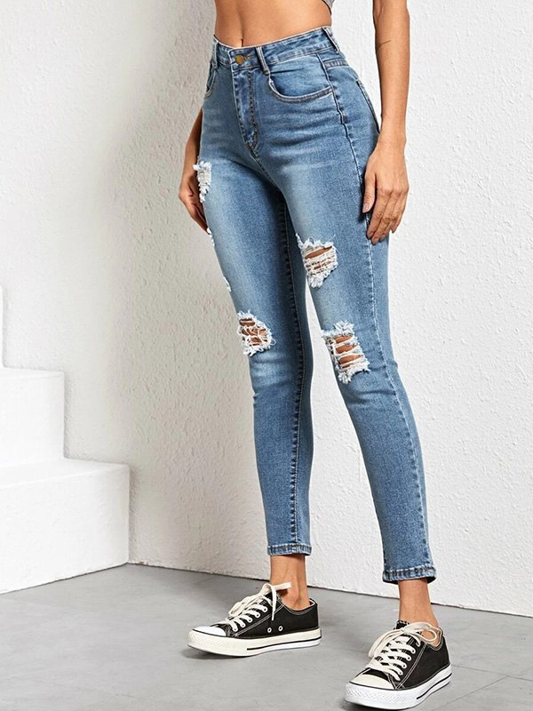High Rise Skinny Ripped Jeans - Blue XS