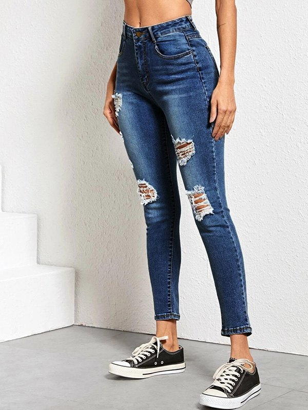 High Rise Skinny Ripped Jeans - Navy Blue XS